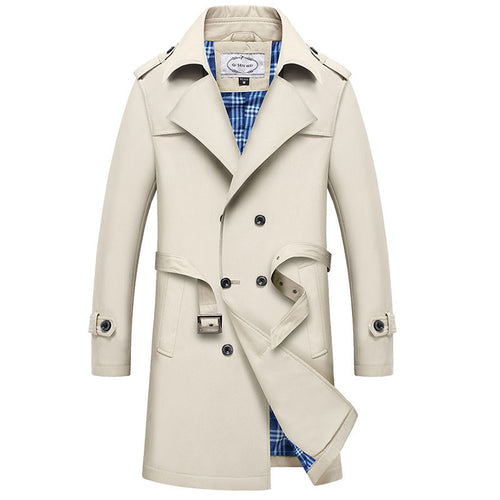 Lapel Belt Polyester Button Plain Men's Trench Coat
