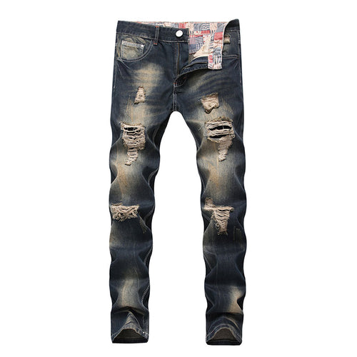 Hole Worn Long Pants Cotton Blends Men's Jeans