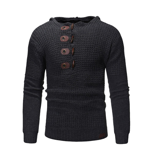 Slim Pullover Pattern Solid Color Button Men's Sweater