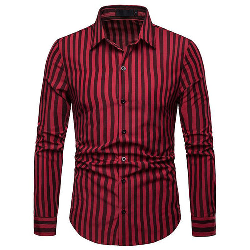 Stripe Casual Long Sleeves Hit Color Men's Shirt