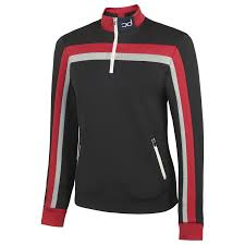 CHARLIE 1/4 Zip Jacket - Black/Grey Fleck/Red
