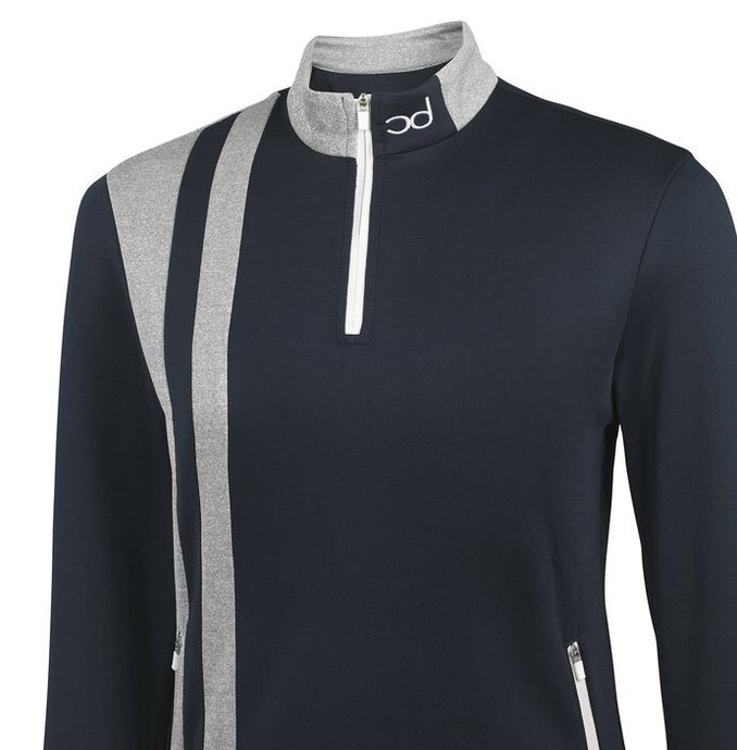HARRY 1/4 Zip Jacket - Navy/Grey Fleck