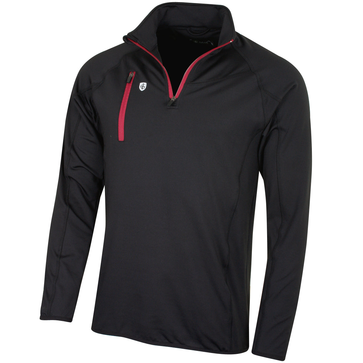 Island Green Men's Contrast Half Zip Mid Layer (Black/Red)