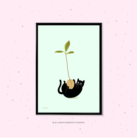 Cat Hug Avocado Plant A4 Print
