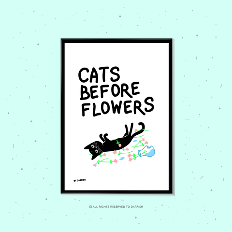 Cats Before Flowers A4 Print