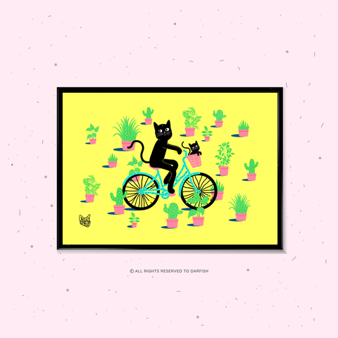 Cat on Bicycle A4 Print