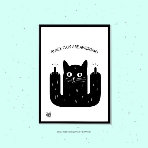 Black Cats Are Awesome A4 Print
