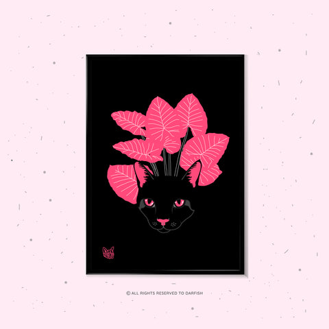 Black Cats Pink Leaves A4 Print