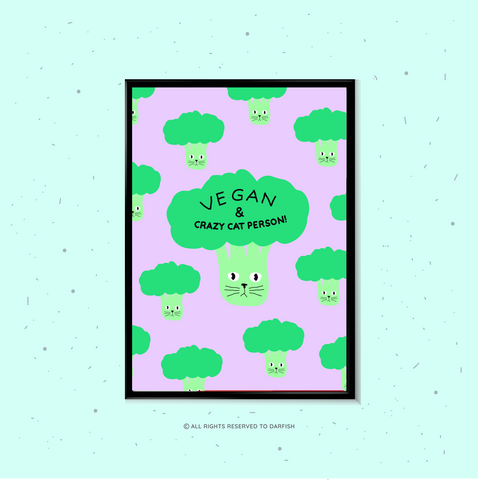 Broccoli Cat Vegan A4 Print