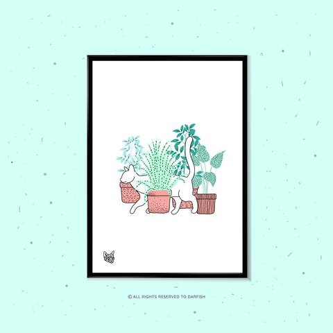 Cats Hide In the Garden white A4 Print