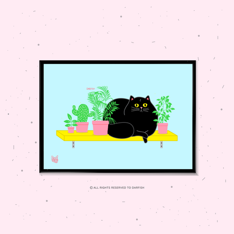 Fat Cat On Shelf A4 Print