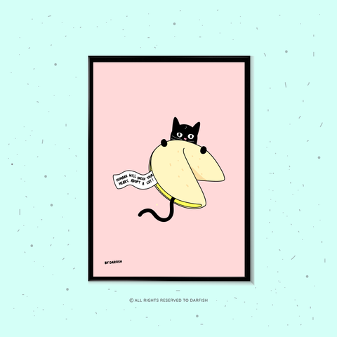 Fortune Cookie Cat A4 Print