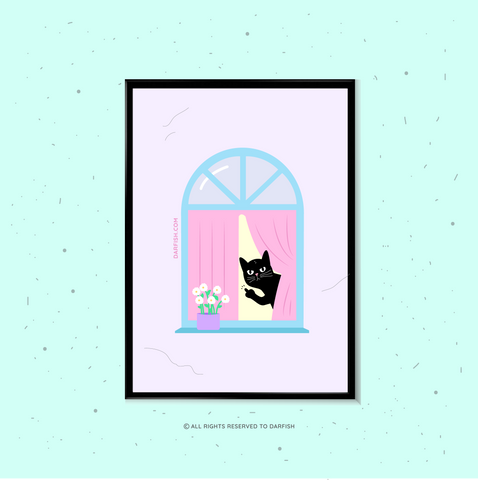 Cat in Window F*** You A4 Print