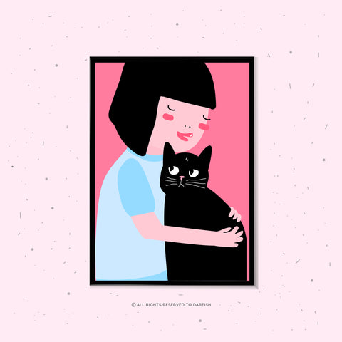 Girl Hug A Cat A4 Print