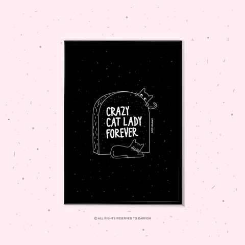 Crazy Cat Lady Grave A4 Print