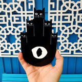 Black Hamsa Cats Wall Decor