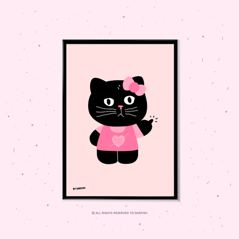 Hello Black Kitty A4 print