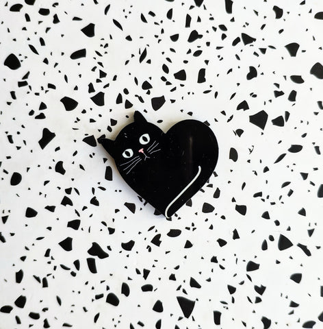 Black Heart Cat Wood Pin