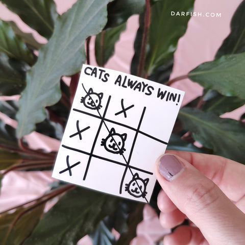 Cat always wins! sticker