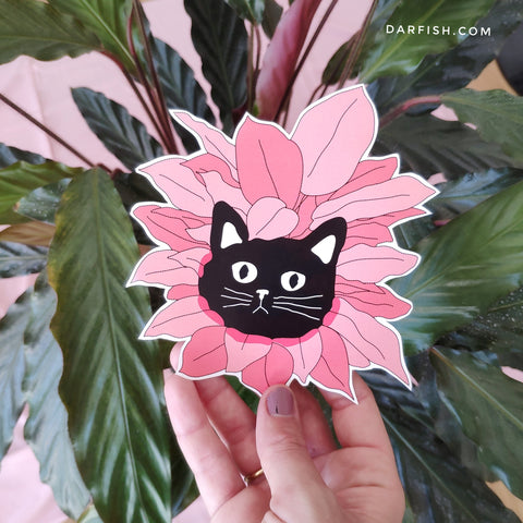 Black cat Pink flower sticker