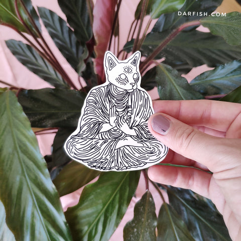 Buddha cat sticker
