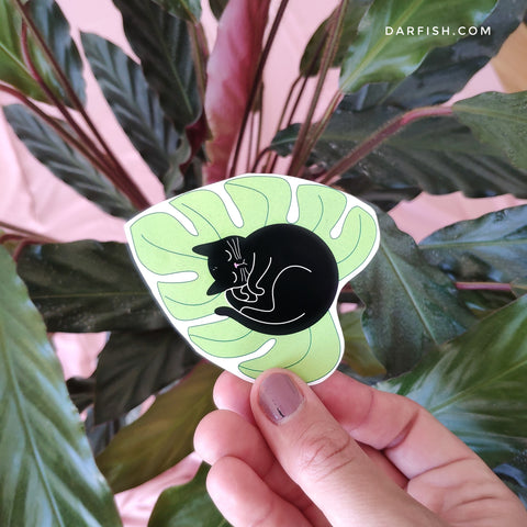 Black and White cats on Monstera sticker