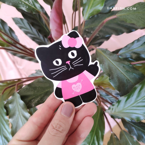 Hello Black Kitty Sticker