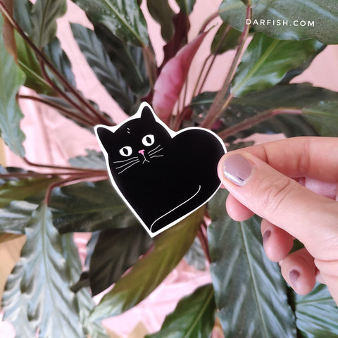 Black cat heart Sticker