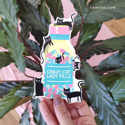 Crazy cat lady pills sticker