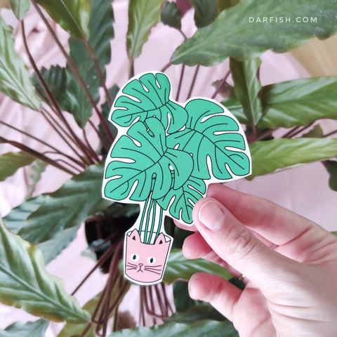 Cat plants Sticker
