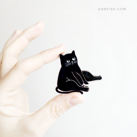 *New* I Feel Fat Cat Wood Pin