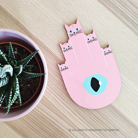 Pink Hamsa Cats Home Decor