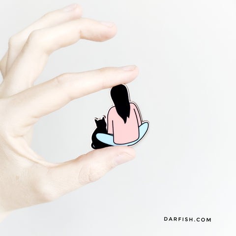 Stand by Meow Cat Wood Pin