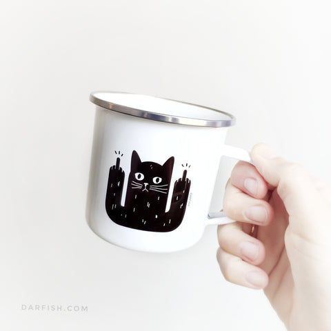 Black cats are awesome Enamel Mug