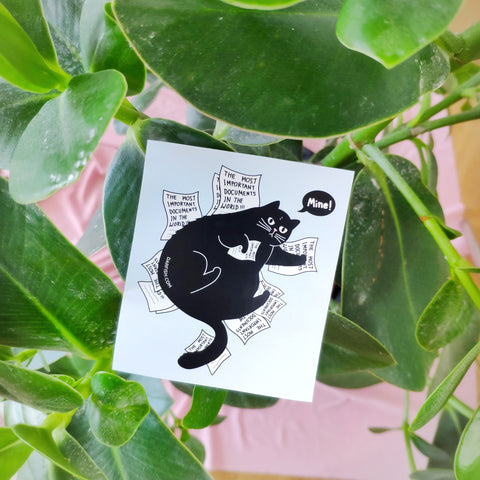 Cat on Paperwork Sticker