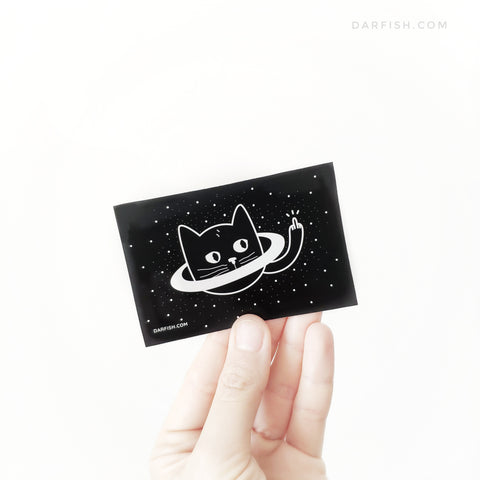 Saturn cat middle finger Sticker