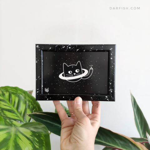 Space Cat Framed Postcard