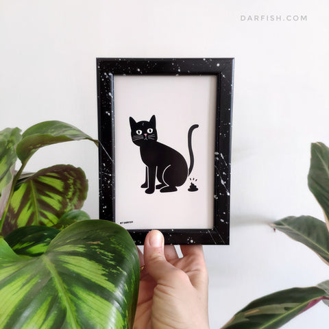 Cat poo Framed Postcard