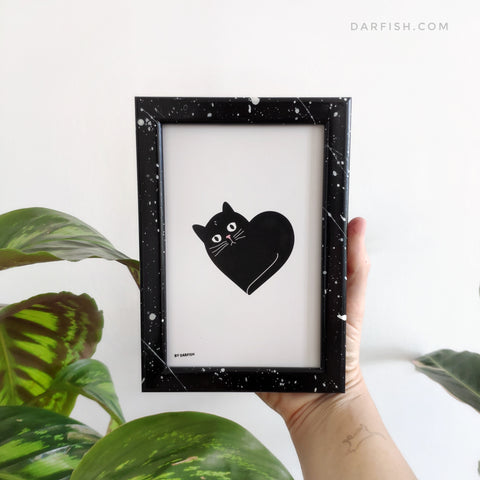 Cat Heart Framed Postcard