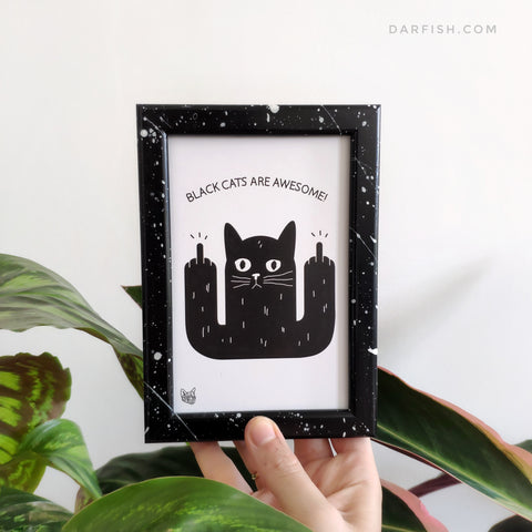 Black cats are awesome Framed Postcard