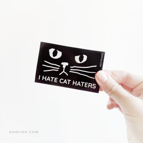 I hate cat haters sticker Black