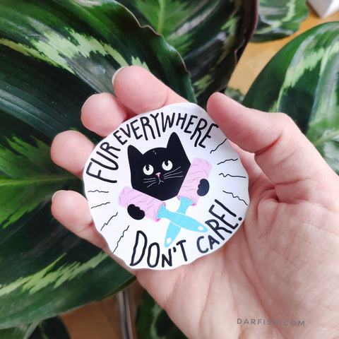 Fur everywhere don't care sticker