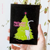 "*NEW* Christmas card ""meowrry christmas"" cat in a tree"