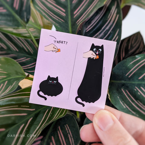 Long cat treat Sticker