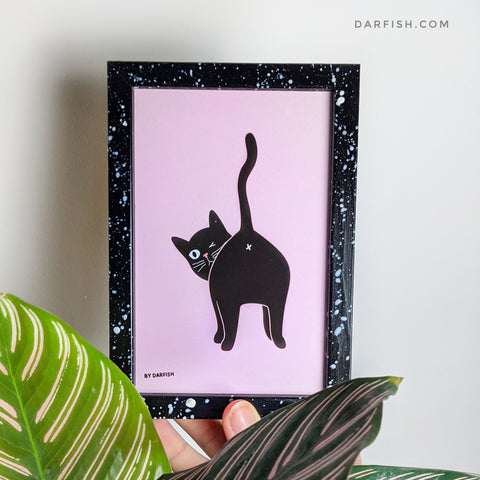 Black cat butt Framed Postcard