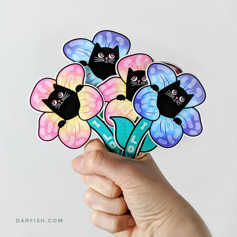 Flower Cat Sticker + Postcard !