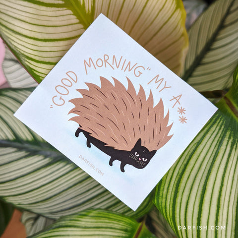 Cat hedgehog Good Morning Sticker