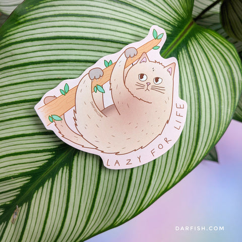 Sloth Lazy Cat Sticker