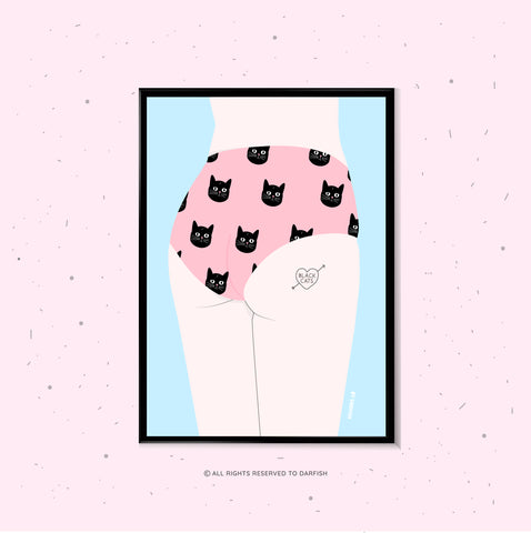 Woman Cats Underwear A4 Print