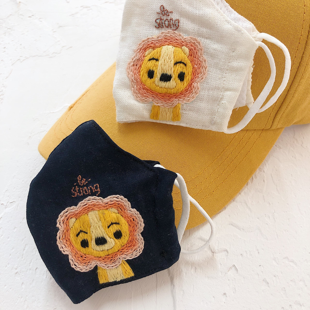 Children Linen Embroidered Face Mask - BlueTagBridal